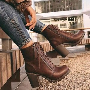 SONYA Lace-Up Bootie - BROWN